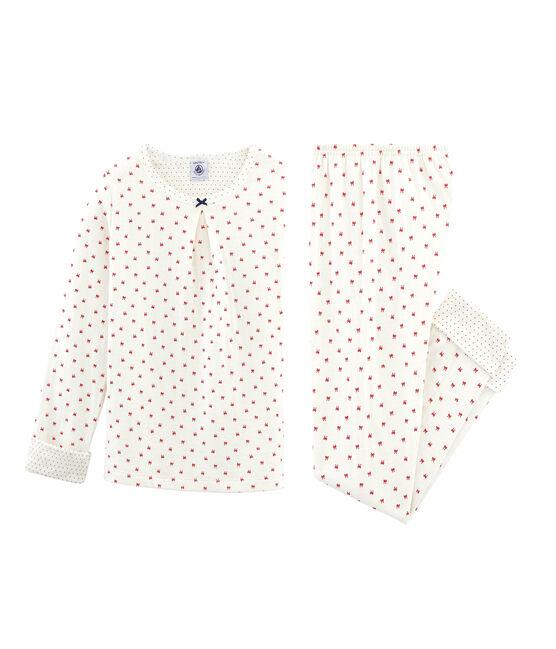 Pyjama petite fille en tubique blanc Marshmallow / rouge Terkuit