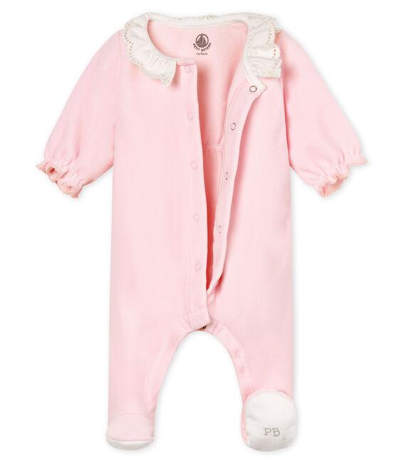Dors-bien bébé fille en velours de coton rose Vienne