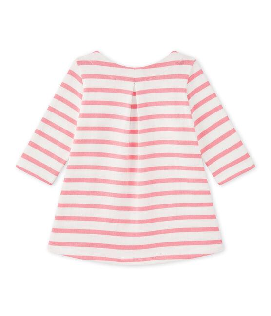 Robe bébé fille rayée blanc Marshmallow / rose Petal