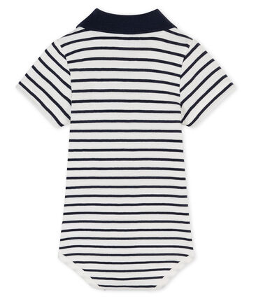 Body col polo rayé bébé garçon blanc Marshmallow / bleu Smoking