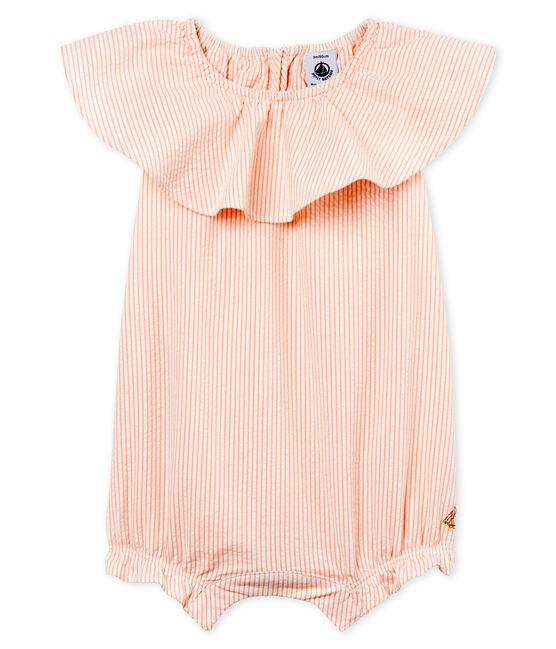 Combicourt rayé bébé fille blanc Marshmallow / rose Rosako