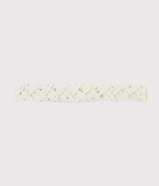 Bandeau cheveux bébé fille blanc Marshmallow / gris Argent