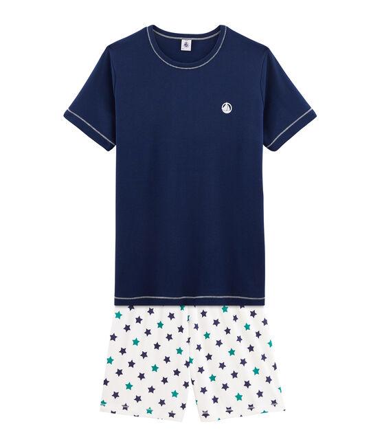 Pyjacourt garçon en côte bleu Medieval / blanc Multico