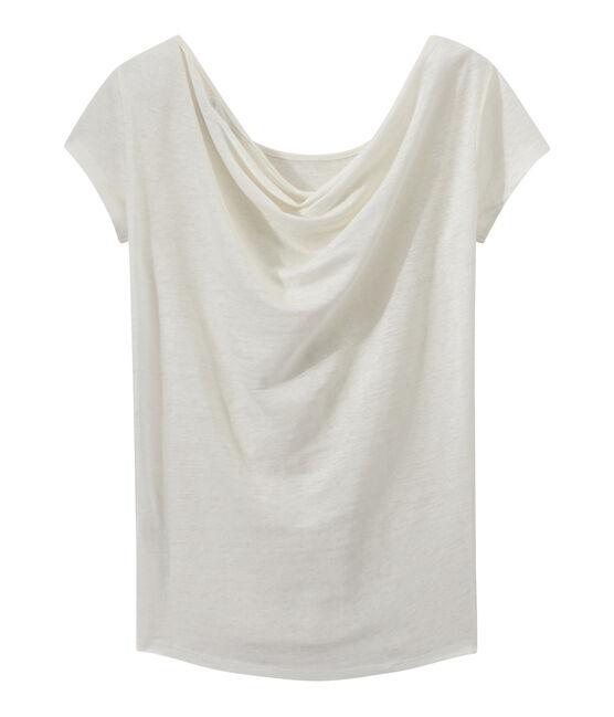T-shirt femme col bénitier au dos en lin irisé blanc Lait / jaune Or