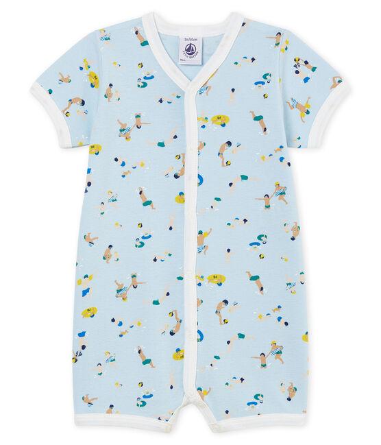 Combicourt bébé garçon en côte bleu Toudou / blanc Multico Cn