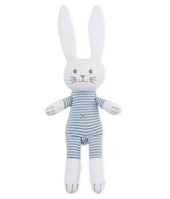 Doudou lapin hochet bébé mixte bleu Fontaine / blanc Marshmallow