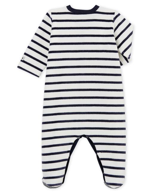 Dors bien bébé en velours blanc Marshmallow / bleu Smoking