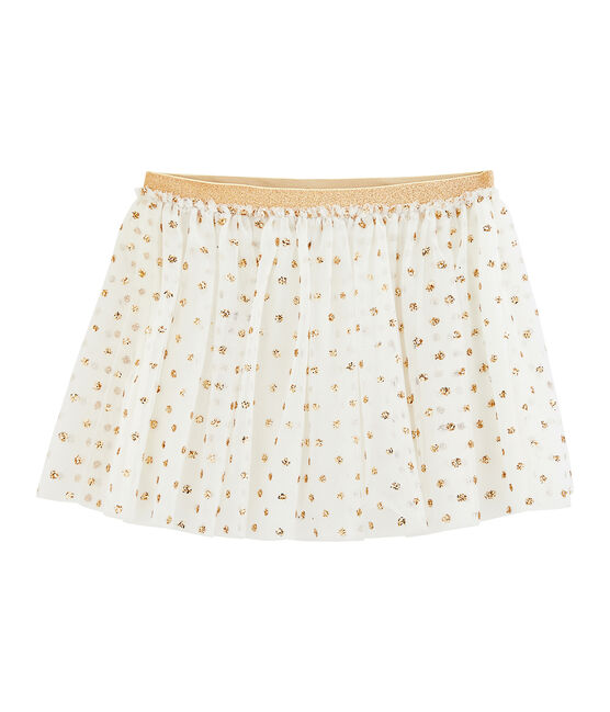 Jupe enfant fille blanc Marshmallow / jaune Or