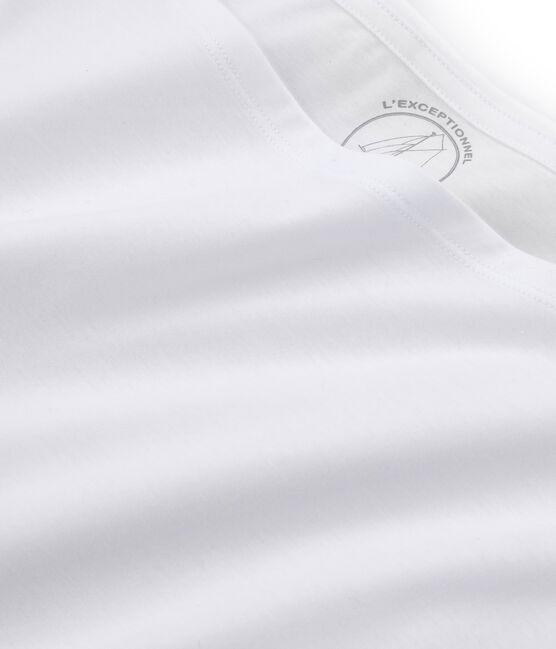 Tee shirt manches courtes coton Sea island femme blanc Ecume