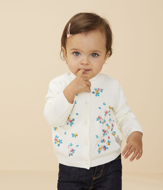 Cardigan manches longues bébé fille blanc Marshmallow
