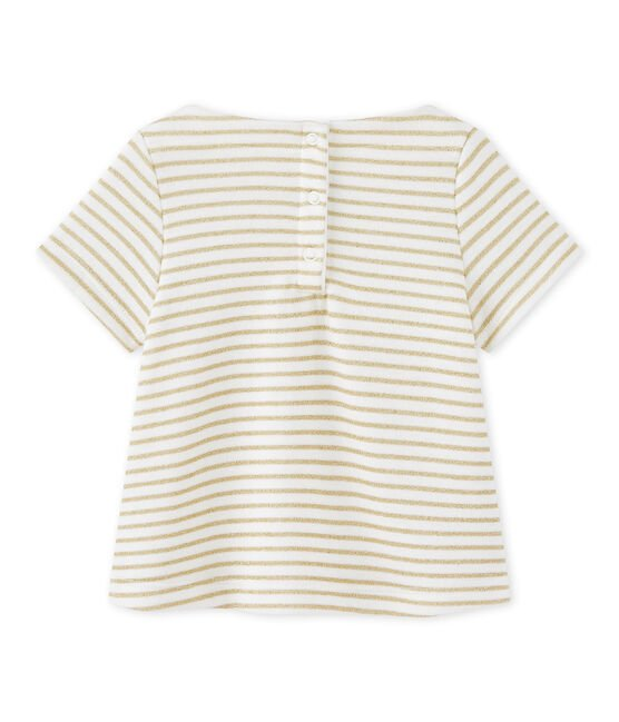 T-shirt bébé fille à rayures MARSHMALLOW/DORE CN