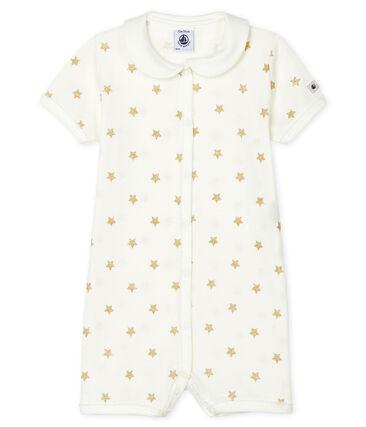 Combicourt bébé fille en côte blanc Marshmallow / jaune Or