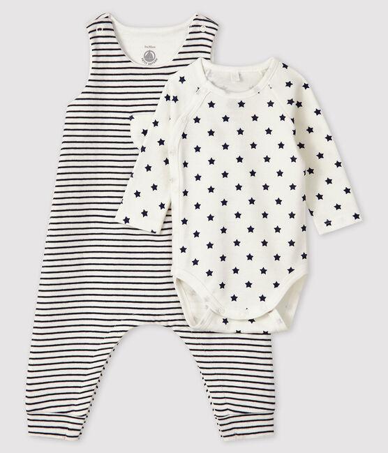 Ensemble 2 pièces bébé en tubique blanc Marshmallow / bleu Smoking