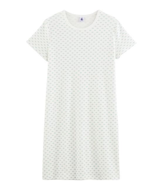 Chemise de nuit fille en côte blanc Marshmallow / blanc Multico