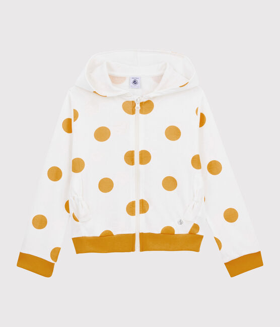 Sweatshirt capuche enfant fille blanc Marshmallow / jaune Boudor