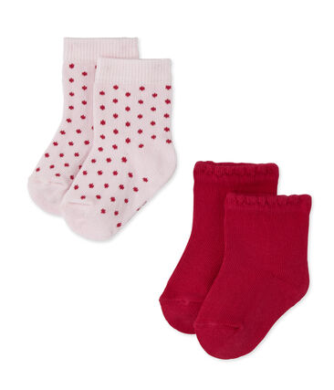 Lot de 2 paires de chaussettes bébé fille unies + à pois lot .