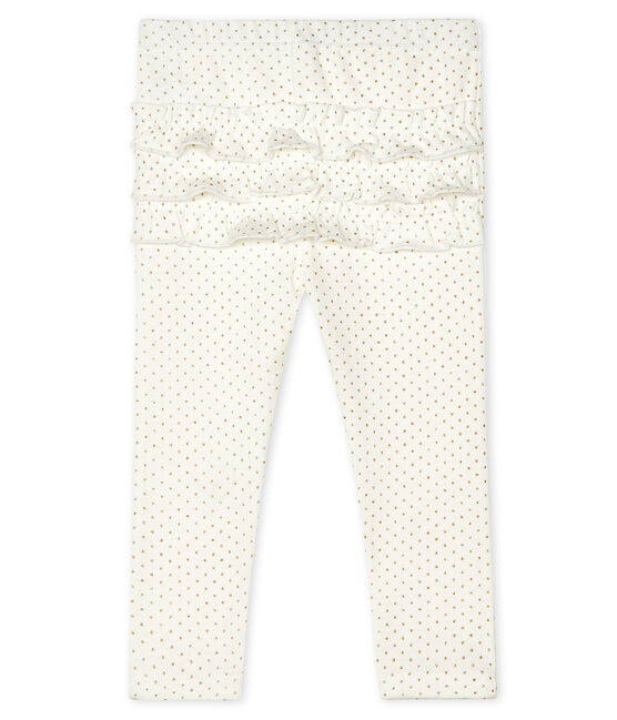 Legging imprimé bébé fille blanc Marshmallow / jaune Or
