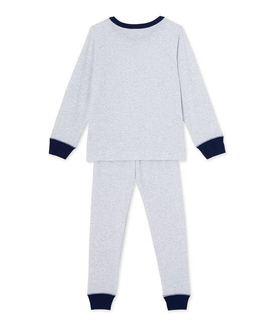 Pyjama garçon en milleraies gris Poussiere / blanc Lait