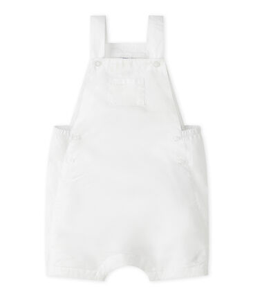 Salopette courte bébé garçon en lin blanc Marshmallow