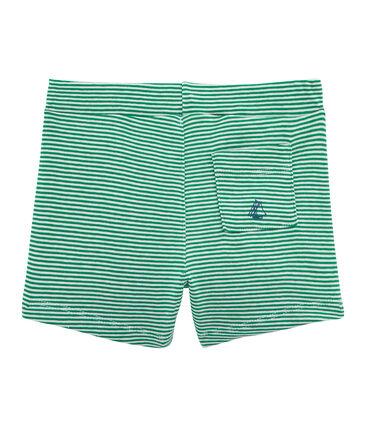 Short bébé garçon rayé vert Pivert / blanc Marshmallow
