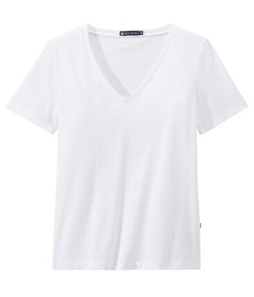 T-shirt femme COL V en jersey fin blanc Ecume