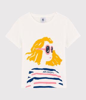 Tee-shirt manches courtes en coton enfant fille blanc Marshmallow / bleu Mykonos