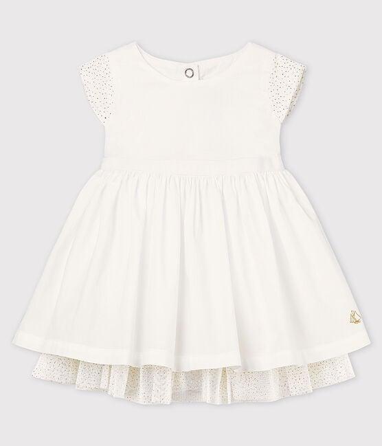 Robe cérémonie en popeline et tulle bébé fille blanc Ecume