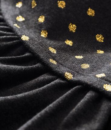 Robe bébé fille bi-matière imprimée pois dorés