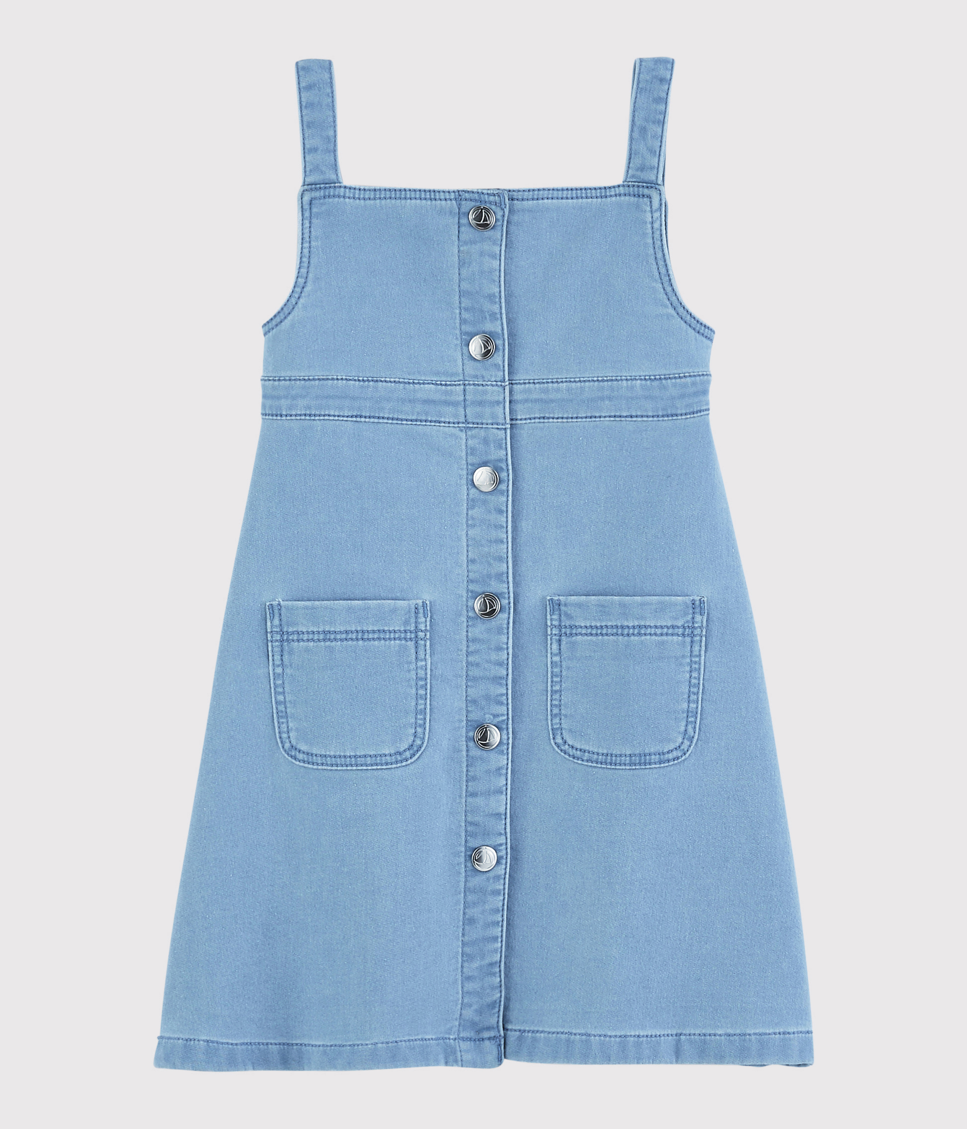 Robe salopette en molleton denim enfant fille